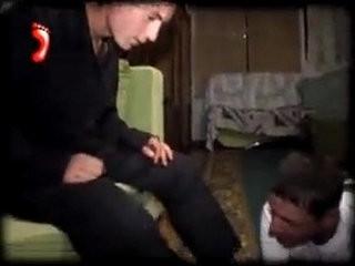 MOSCOW SLAVE Tramplin faggot boy feet trampling