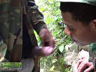 Soldier wades a sea for a deep-throatjob