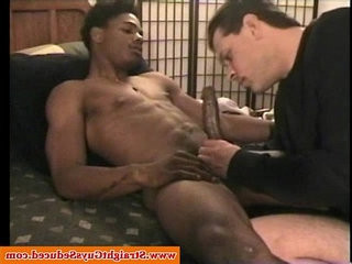 Black straight guy gets a interracial bj